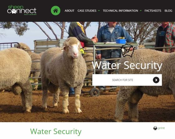 Link to Water Security content from Sheep Connect SA site